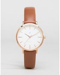 Asos Premium Rose Gold Brown Leather Watch
