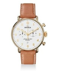 Shinola The Canfield Chronograph Leather Strap Watch