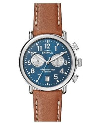 Shinola The Runwell Chronograph Leather Strap Watch 41mm