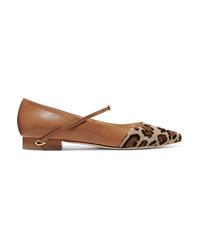 Jennifer Chamandi Lorenzo Leopard Print Calf Hair And Leather Point Toe Flats