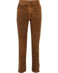 Saint Laurent Leopard Print High Rise Slim Leg Jeans