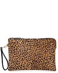 Tobacco Leopard Leather Clutch