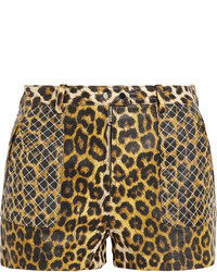 3.1 Phillip Lim Quilted Leopard Print Leather Shorts