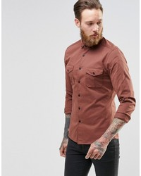 Asos Brand Skinny Military Shirt In Rust With Long Sleeves