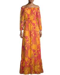 Diane von Furstenberg Camila Off The Shoulder Flower Power Maxi Dress Fuchsia