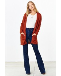 Silence & Noise Silence Noise Ribbed Sleeve Open Front Cardigan