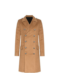 Balmain Double Breasted Camel Coat