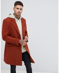 ASOS DESIGN Wool Mix Overcoat In Rust
