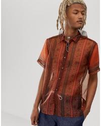 ASOS DESIGN Regular Fit Sheer Paisley Shirt