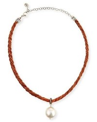 Chan Luu Braided Leather Necklace With Pearl Charm Brown