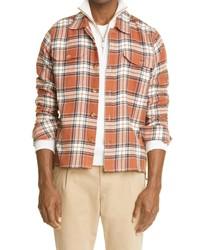 Eleventy Plaid Cotton Linen Shirt Jacket