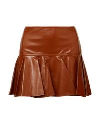 Chloé Pleated Glossed Leather Mini Skirt