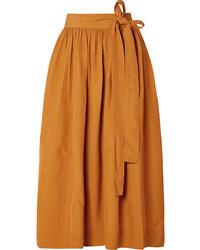 Co Pleated Broadcloth Wrap Skirt