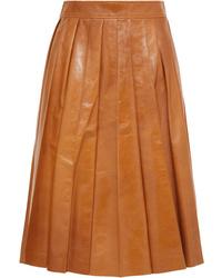 Bottega Veneta Pleated Glossed Leather Skirt