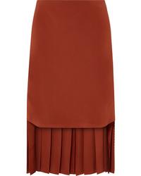 Chloé Asymmetric Pleated Silk Skirt