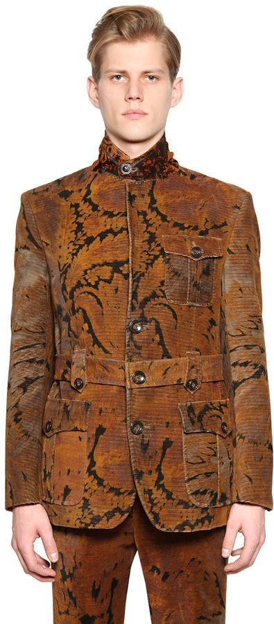 4b8cdeed54b ... Etro Printed Cotton Corduroy Military Jacket