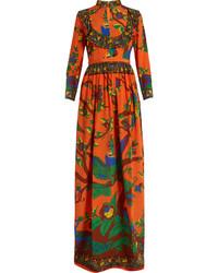 Jubilee print mandarin collar silk gown medium 1054205