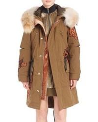 3.1 Phillip Lim Quilted Fur Trim Utility Coat