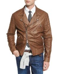 Brunello Cucinelli Leather Asymmetrical Zip Moto Jacket Chestnut