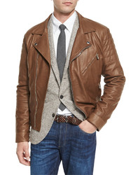 Brunello Cucinelli Leather Asymmetrical Zip Moto Jacket Chestnut