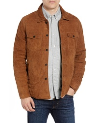 Billy Reid Regular Fit Quilted Suede Shirt Jacket