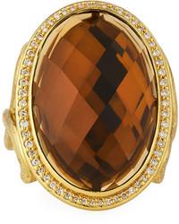 Jude Frances Judefrances Jewelry 18k Oval Cinnamon Topaz Diamond Cocktail Ring