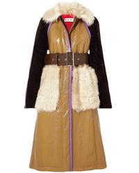Marni Paneled Leather And Shearling Coat