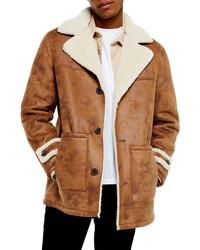 Topman Aviator Classic Fit Faux Coat
