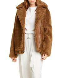 Vince Genuine Shearling Leather Bomber Jacket