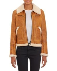 Barneys New York Lamb Shearling Zip Up Jacket