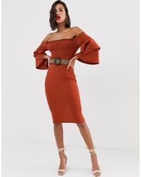 ASOS DESIGN Off Shoulder Shirred Bardot Midi Dress