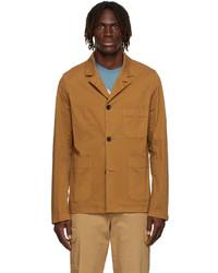 Ps By Paul Smith Tan Convertible Collar Jacket