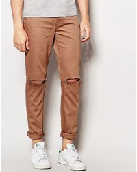Asos Brand Skinny Jeans With Knee Rips In Brown