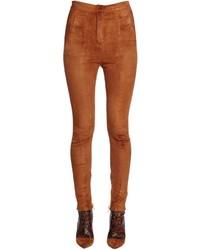Skinny high waist stretch suede pants medium 4418090