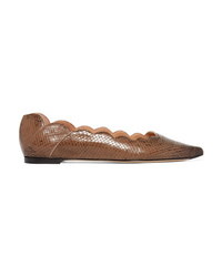 Chloé Lauren Scalloped Snake Effect Leather Point Toe Flats