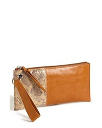 Tobacco Snake Leather Clutch