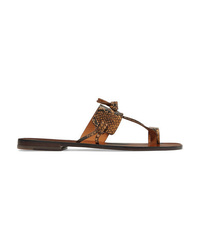 Zimmermann Knotted Snake Effect Leather Sandals