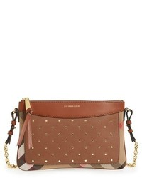 Burberry Peyton Studded Leather Crossbody Bag Brown