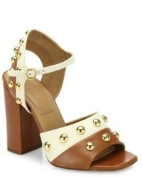 Michael Kors Michl Kors Collection Trista Studded Two Tone Leather Block Heel Sandals