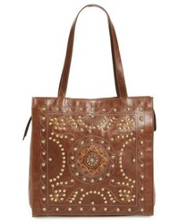 Avalon studded calfskin leather tote brown medium 5254679