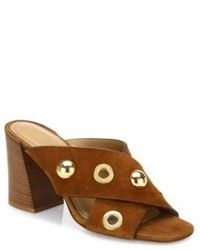 Michael Kors Michl Kors Collection Brianna Studded Suede Crisscross Mules