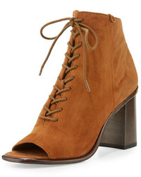 Frye Amy Open Toe Lace Up Bootie Brown