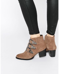 Asos Collection Rebel Suede Western Ankle Boots