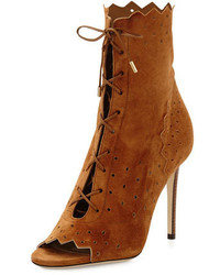 Jimmy Choo Dei 100mm Suede Open Toe Lace Up Bootie Canyon