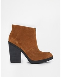 Asos Eternal Flame Suede Ankle Boots Tobacco