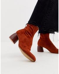 Bershka Faux Suede Sock Boot With Round Heel