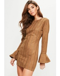 Missguided Tan Faux Suede Stitch Detail Bodycon Dress