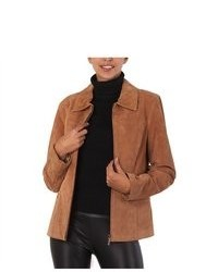 Bgsd classic suede leather zip front jacket medium 80324