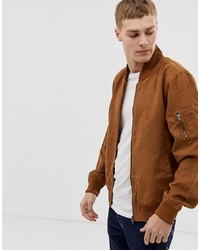 French Connection Faux Suede Baseball Jacket