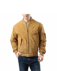 Asstd National Brand Ma 1 Suede Leather Suede Bomber Jacket Tall